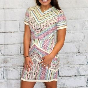 Adelyn Rae Multi Color Jacquard Print Short Sleeve